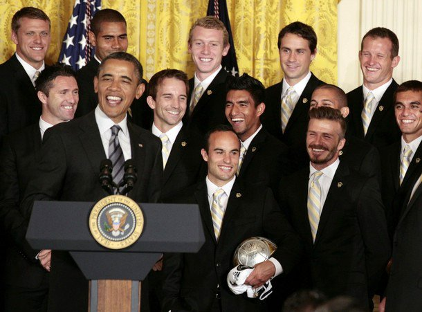 Video: David Beckham Ribbed by Obama During L.A. Galaxy's Visit to the White House