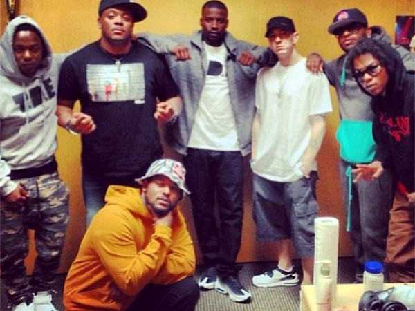 Eminem Welcomes Kendrick Lamar and Friends to his Detroit Studio