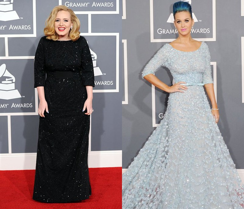 Grammys 2012: Adele Stunning in Black, Katy Perry Sparkling in Blue