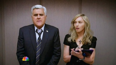 Jay Leno Has Awkward Encounter With Madonna in 'Tonight Show' Super Bowl Ad