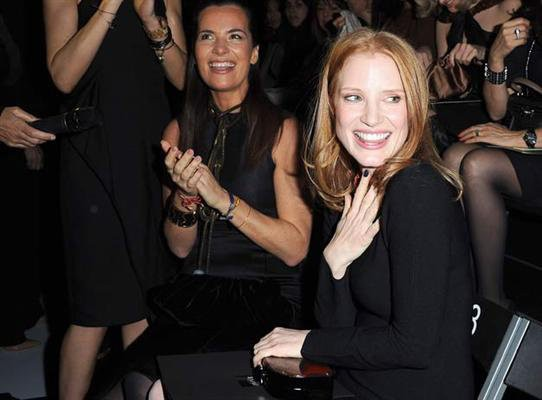 Jessica Chastain Gets Standing Ovation at Fashion Show for 2012 Oscar Nod