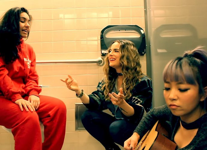 JoJo, Alessia Cara and DNCE's JinJoo Perform 'I Can Only' in a Bathroom Stall