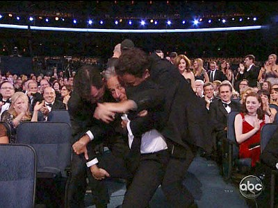 Video: Jon Stewart Tackled to the Ground at 2012 Primetime Emmy Awards