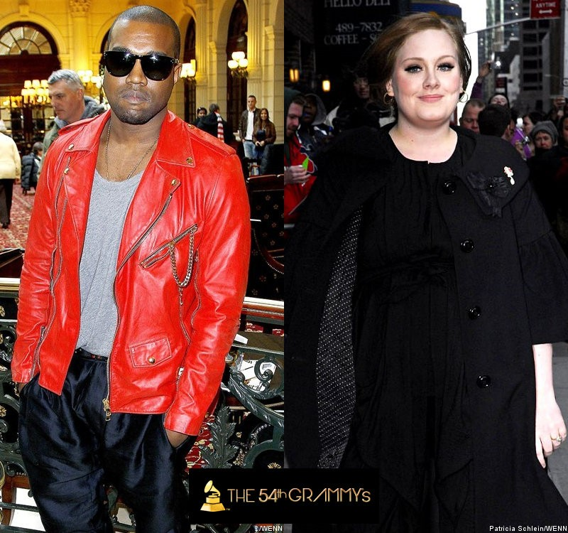 Kanye West and Adele Lead Nominations for 54th Annual Grammy Awards