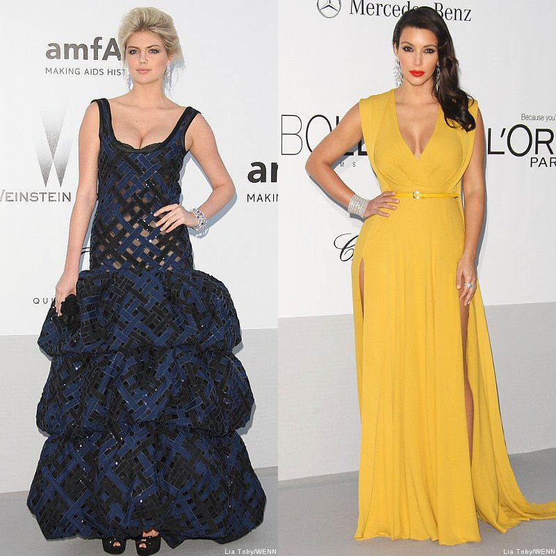 Kate Upton and Kim Kardashian Pull Off Daring Looks at amfAR's AIDS Gala 2012