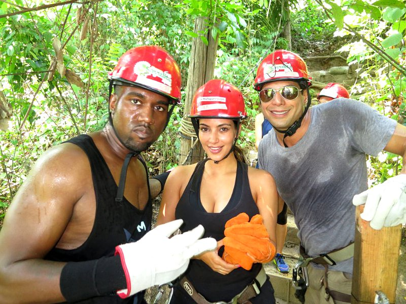 Pictures: Kim Kardashian and Kanye West Zip Lining in Mexican Jungle