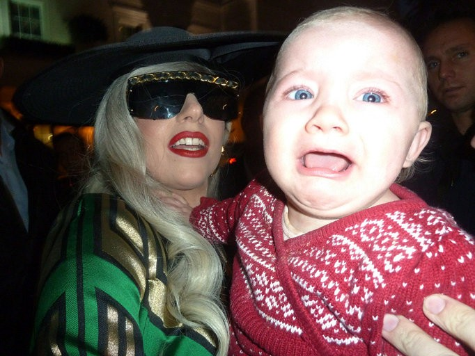 Lady GaGa Caught on Camera Posing With One Terrified Baby