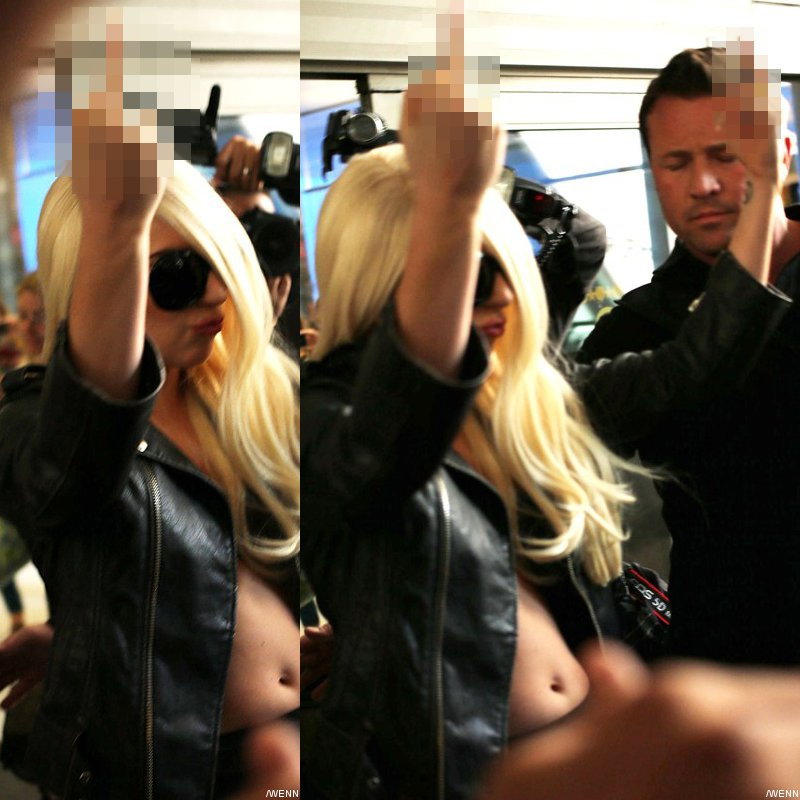 lady gaga gives paparazzi middle finger salute Pictures: Lady GaGa Gives Paparazzi Middle Finger Salute