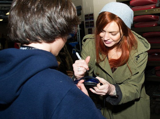 Lindsay Lohan Hangs Out With The Wanted's Max George Backstage at Jingle Ball Concert