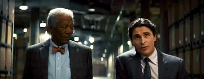 Lucius Fox Introduces New Gadget to Bruce Wayne in 'Dark Knight Rises' Fresh Clip