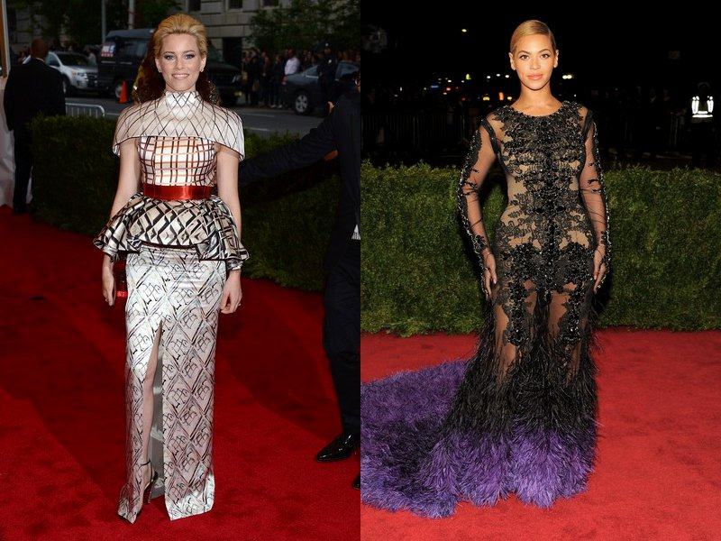MET Ball 2012: Elizabeth Banks Channels Effie Trinket, Beyonce Knowles Stuns in Sheer Gown