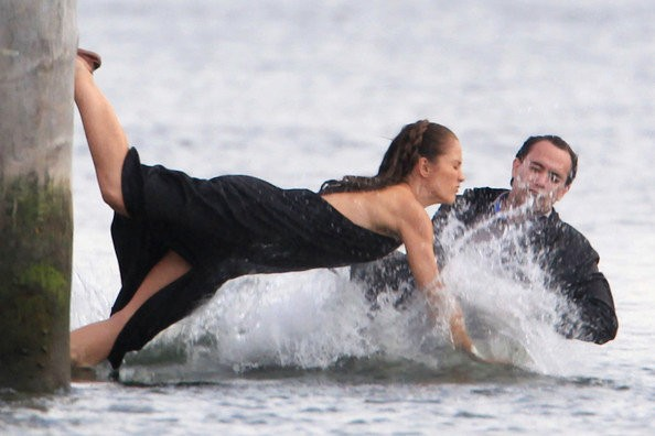 Minka Kelly Jumps Into the Sea Filming 'Charlie's Angels'