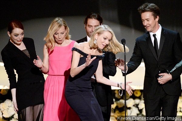 Naomi Watts Almost Falls Onstage After Tripping on Emma Stone's Dress at SAG Awards