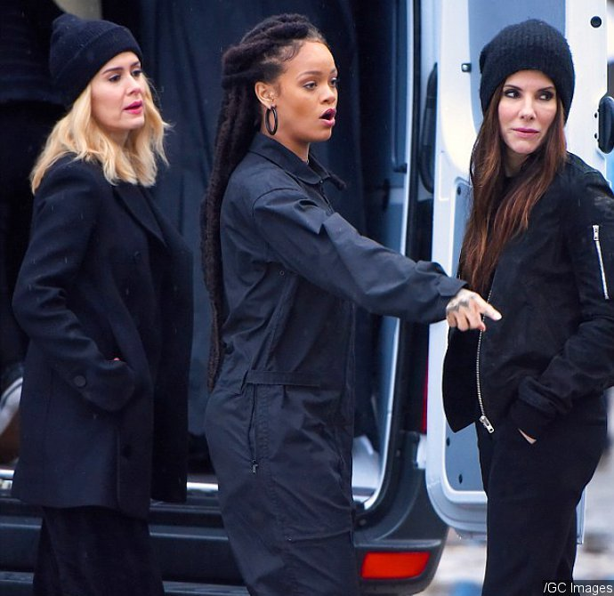 Sandra Bullock, Rihanna and Sarah Paulson Are Seen Filming 'Ocean's Eight'