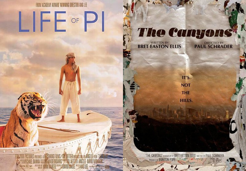 First Posters for 'Life of Pi' and 'The Canyons'