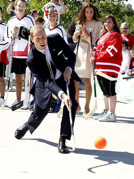 Prince William Tries His Hand at Street Hockey, Kate Middleton Sidelined