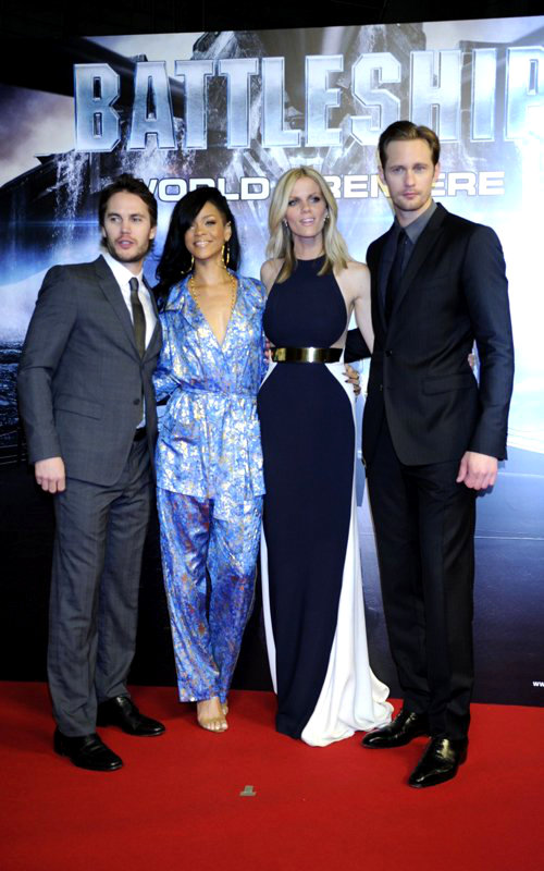 Rihanna Wears Pajamas as Brooklyn Decker Glams Up for 'Battleship' Tokyo Premiere