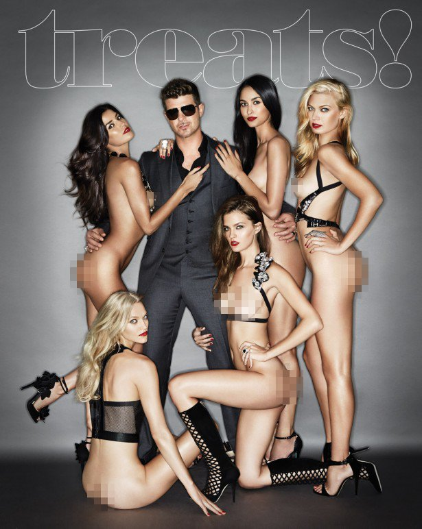 Robin Thicke Graces the Cover of 'Treats!' Magazine With Naked Models