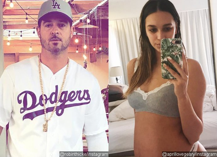 Robin Thicke's Pregnant Girlfriend Flaunts Her 31-Week Baby Bump in Skimpy Lingerie