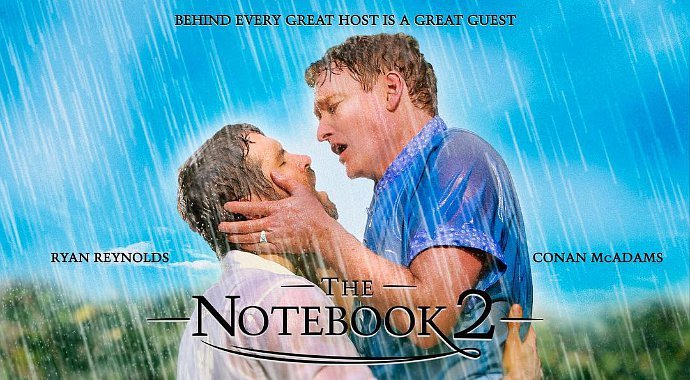 ryan reynolds and conan o 39 brien kiss in 39 the notebook 39 spoof. Black Bedroom Furniture Sets. Home Design Ideas