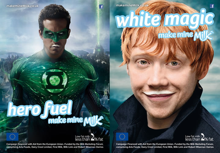 Ryan Reynolds and Rupert Grint Front U.K. Milk Campaign