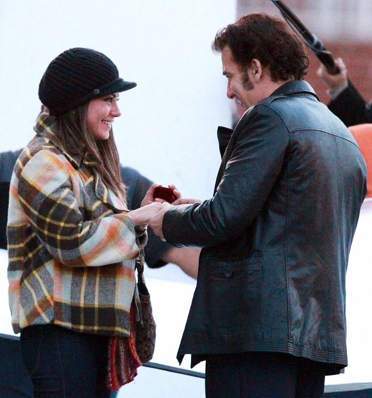 On-Set Photo: Mila Kunis Gets Engaged to Clive Owen for 'Blood Ties'