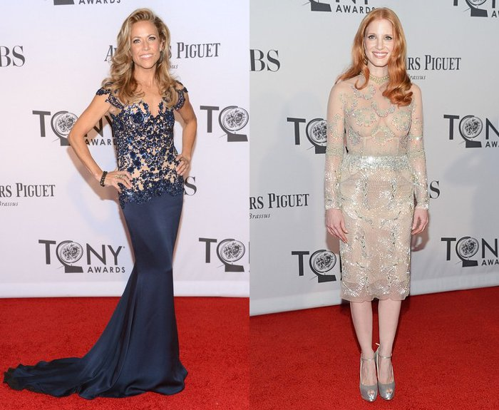 Sheryl Crow and Jessica Chastain Dazzling on 2012 Tony Awards Red Carpet