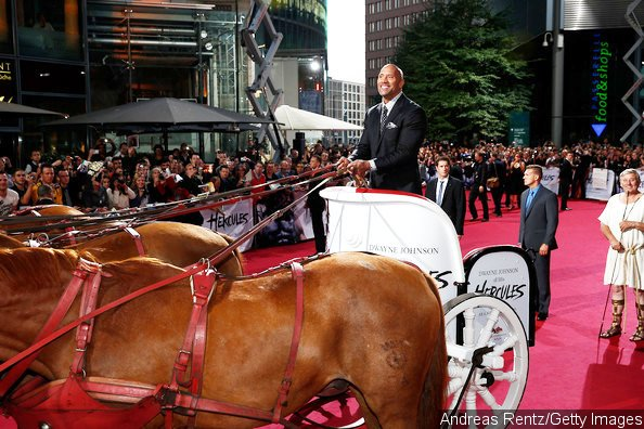 The Rock Rides Horse-Drawn Carriage to 'Hercules' Premiere in Germany