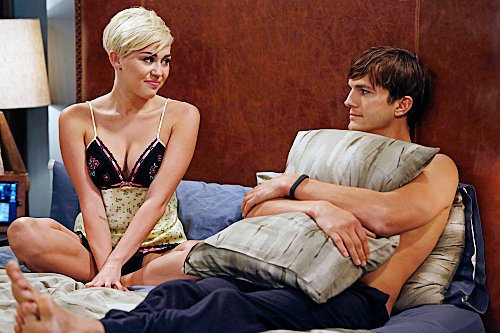'Two and a Half Men' Pics: Lingerie-Clad Miley Cyrus in Bed With Ashton Kutcher