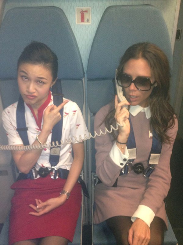 Victoria Beckham Takes Over Flight Attendant's Job in Humorous Photo