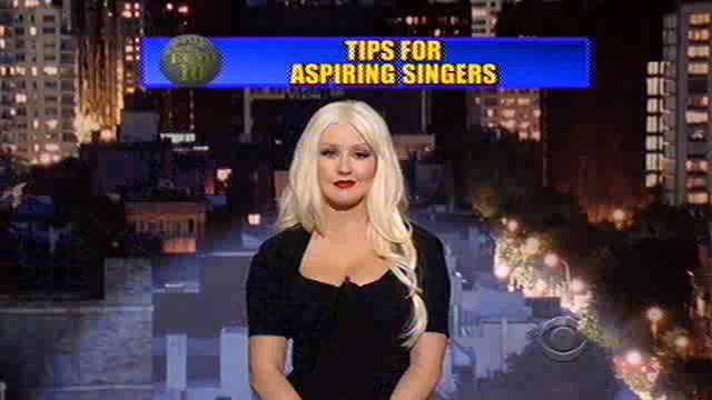 Video: Christina Aguilera Reads Top Ten List on 'David Letterman'