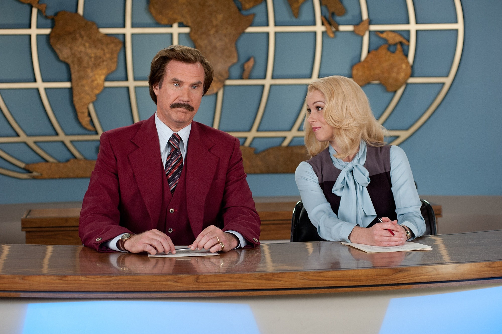 Will Ferrell stars as Ron Burgundy and Christina Applegate stars as Veronica Corningstone in Paramount Pictures' Anchorman: The Legend Continues (2013)