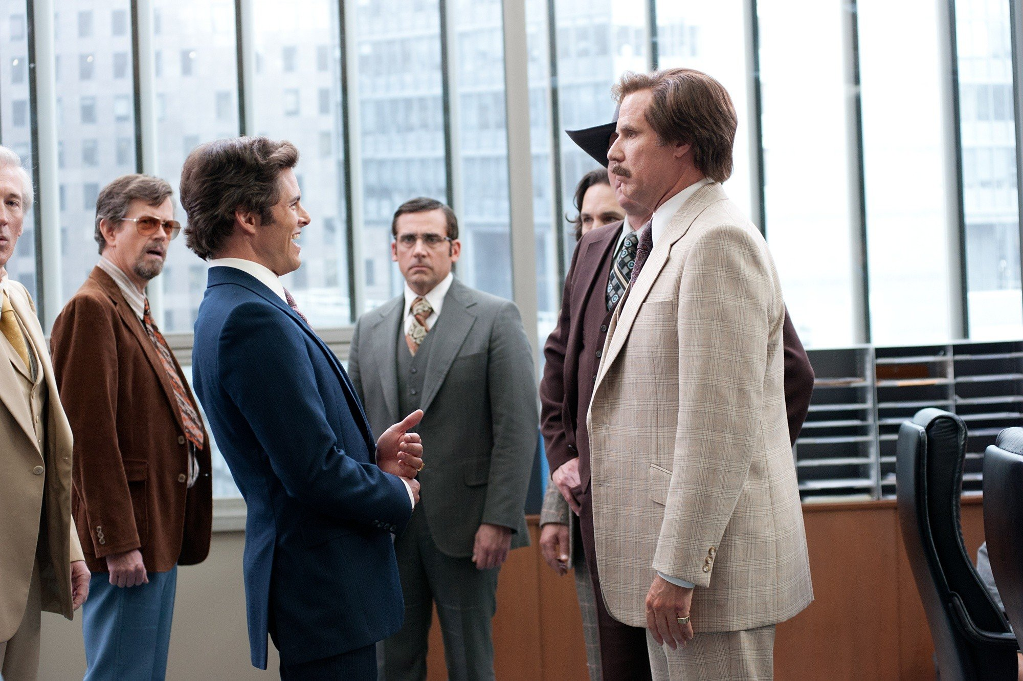 James Marsden, Steve Carell and Will Ferrell in Paramount Pictures' Anchorman: The Legend Continues (2013)