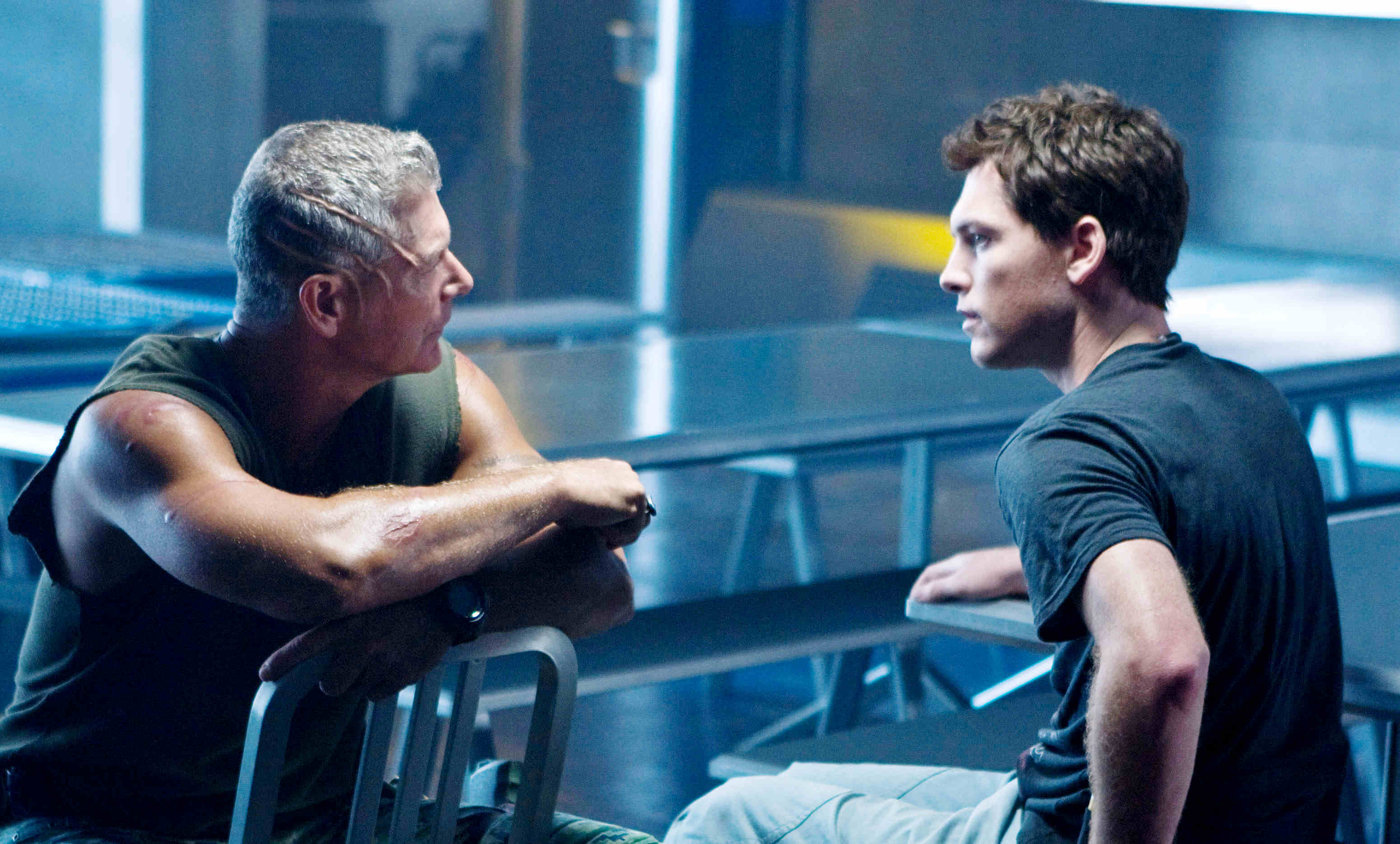 Stephen Lang stars as Col. Quaritch and Sam Worthington stars as Jake Sully in The 20th Century Fox's Avatar (2009)