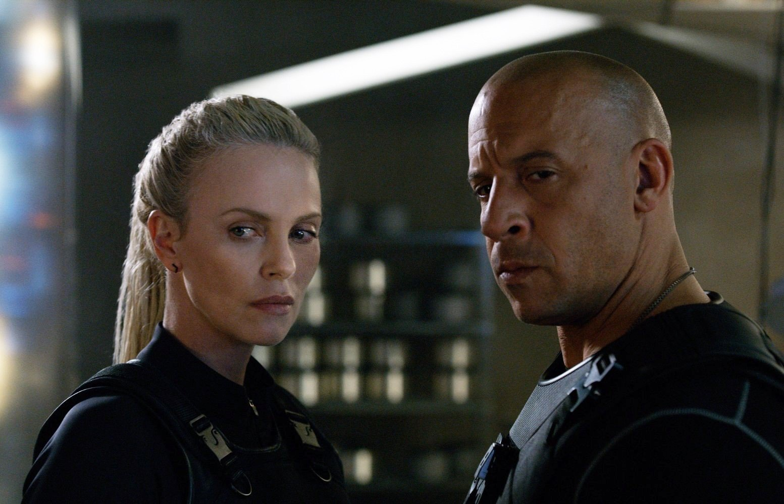 Charlize Theron stars as Cipher and Vin Diesel stars as Dominic Toretto in Universal Pictures' The Fate of the Furious (2017)