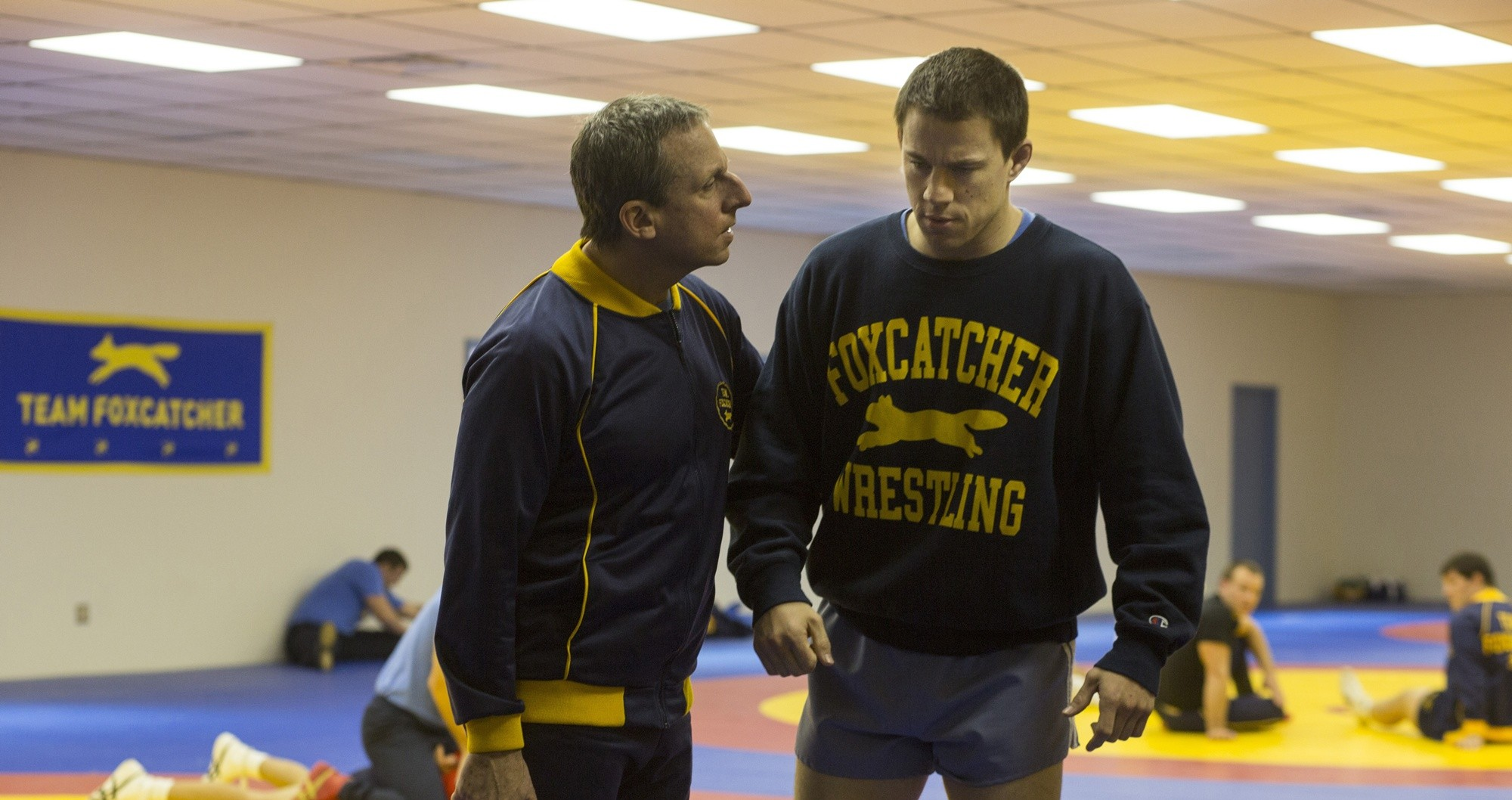 Steve Carell stars as John du Pont and Channing Tatum stars as Mark Schultz in Sony Pictures Classics' Foxcatcher (2014)