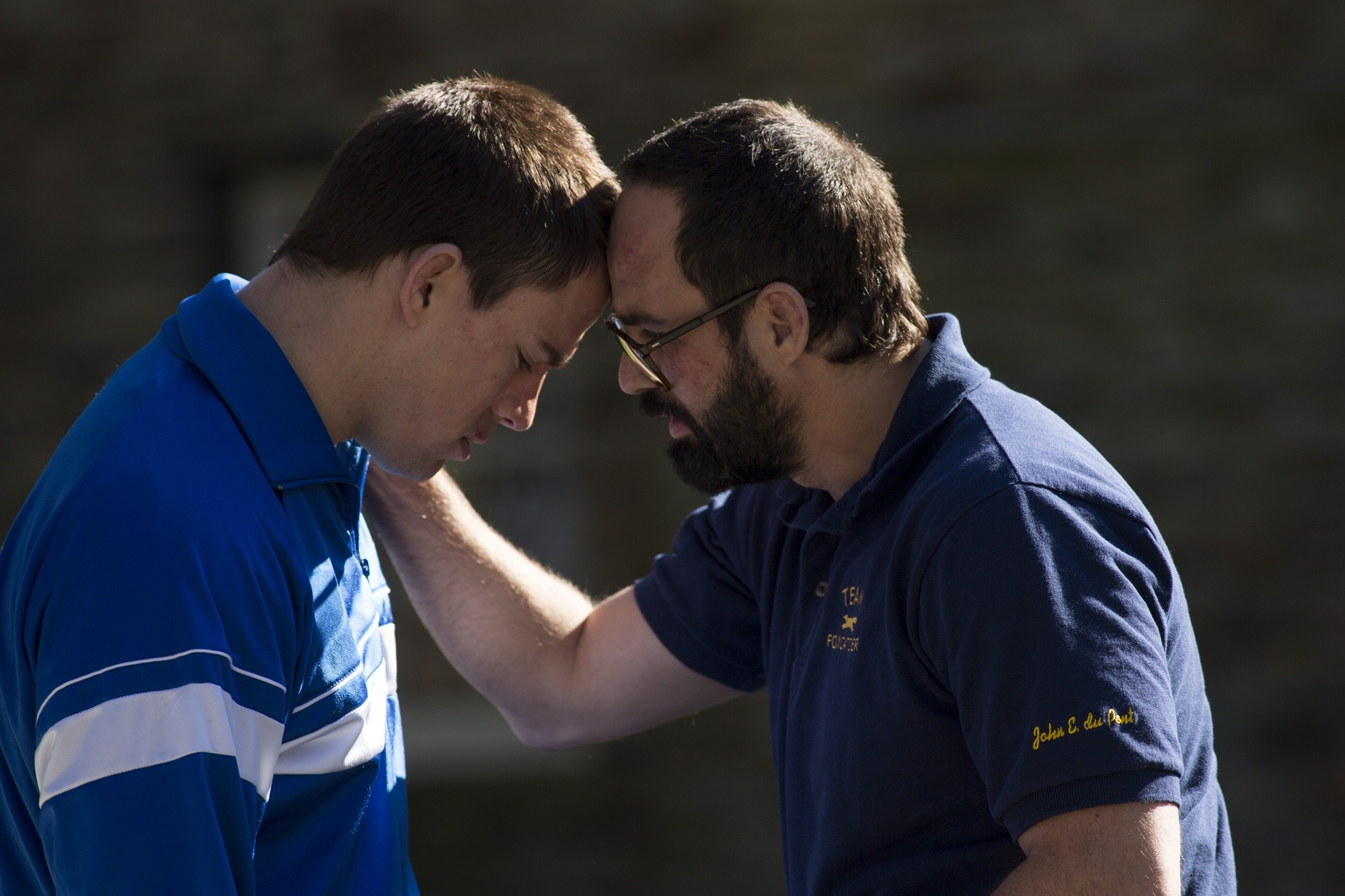 Channing Tatum stars as Mark Schultz and Mark Ruffalo stars as David Schultz in Sony Pictures Classics' Foxcatcher (2014)