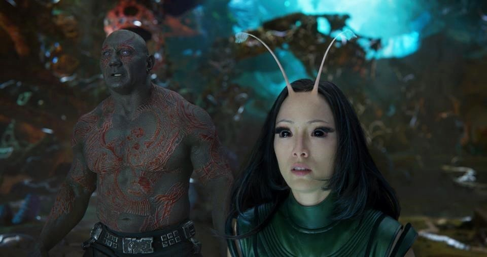Dave Bautista stars as Drax and Pom Klementieff stars as Mantis in Walt Disney Pictures' Guardians of the Galaxy Vol. 2 (2017)