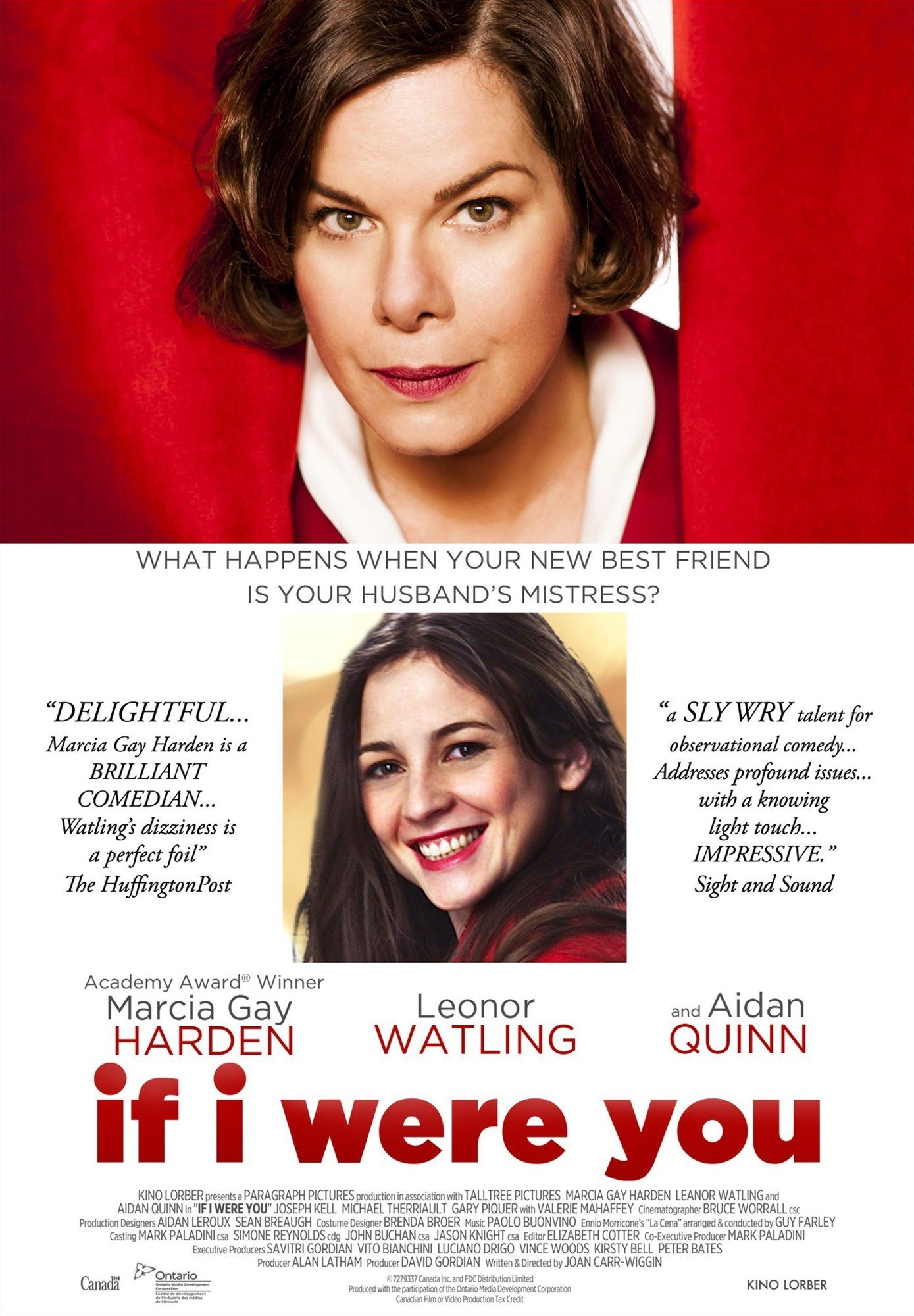 Miniature of movie poster for If I Were You, showing Marcia Gay Harden poking her head through a red theatre curtain, and a picture of her character's husband's mistress below.