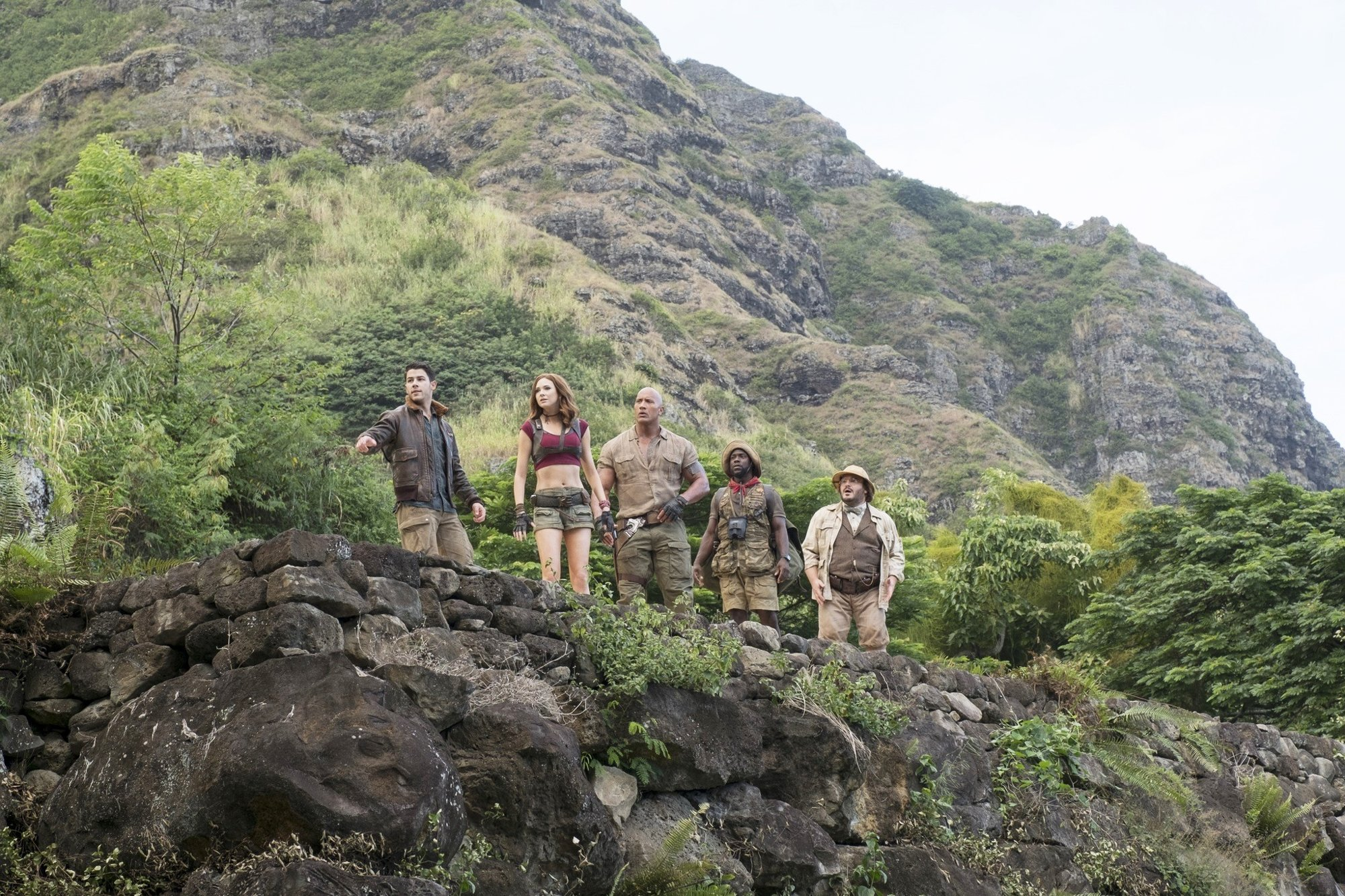 Nick Jonas, Karen Gillan, The Rock, Kevin Hart and Jack Black in Columbia Pictures' Jumanji: Welcome to the Jungle (2017)