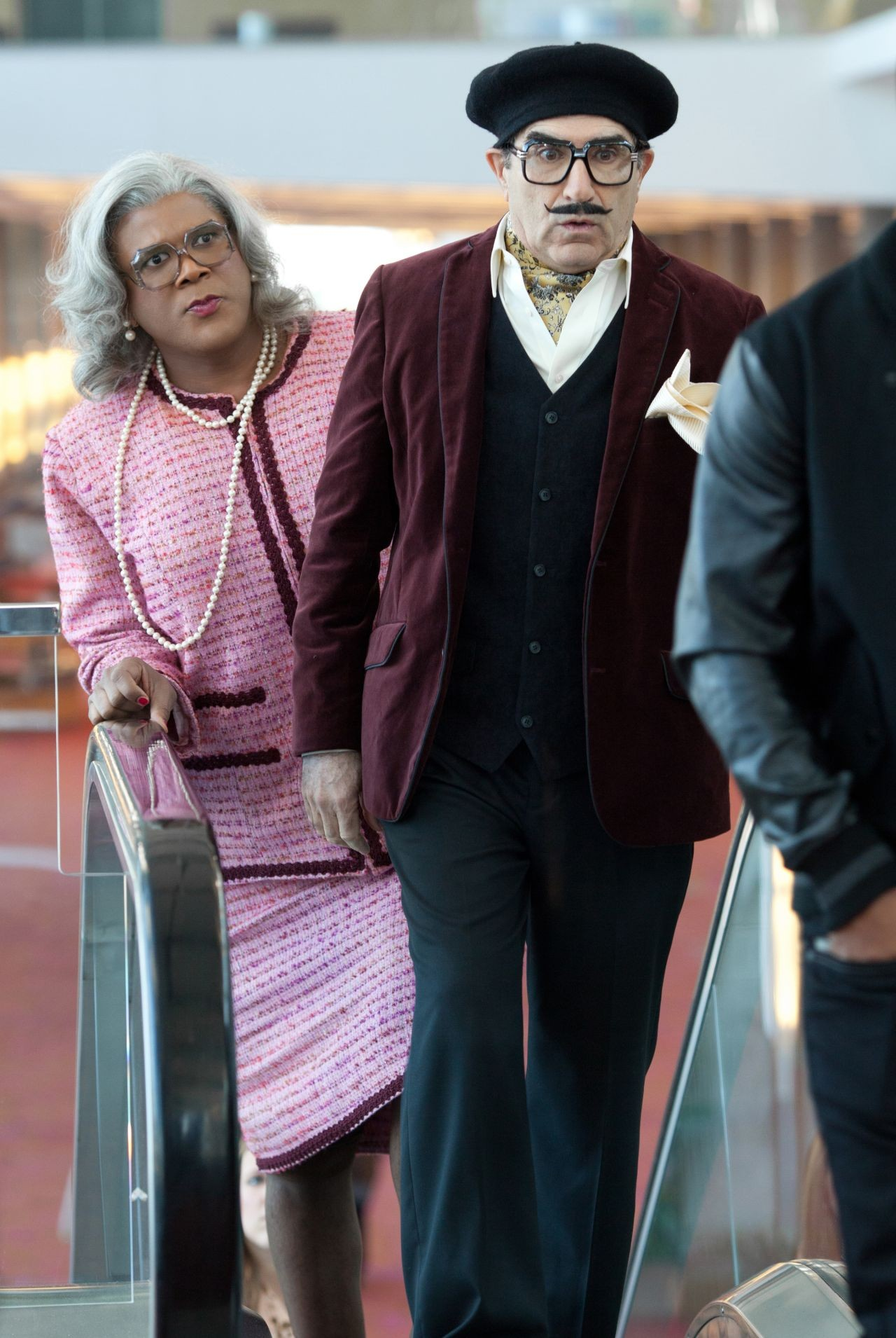Tyler Perry stars as Madea/Joe/Brian and Eugene Levy stars as George Needleman in Lionsgate's Madea's Witness Protection (2012). Photo credit by KC Bailey.