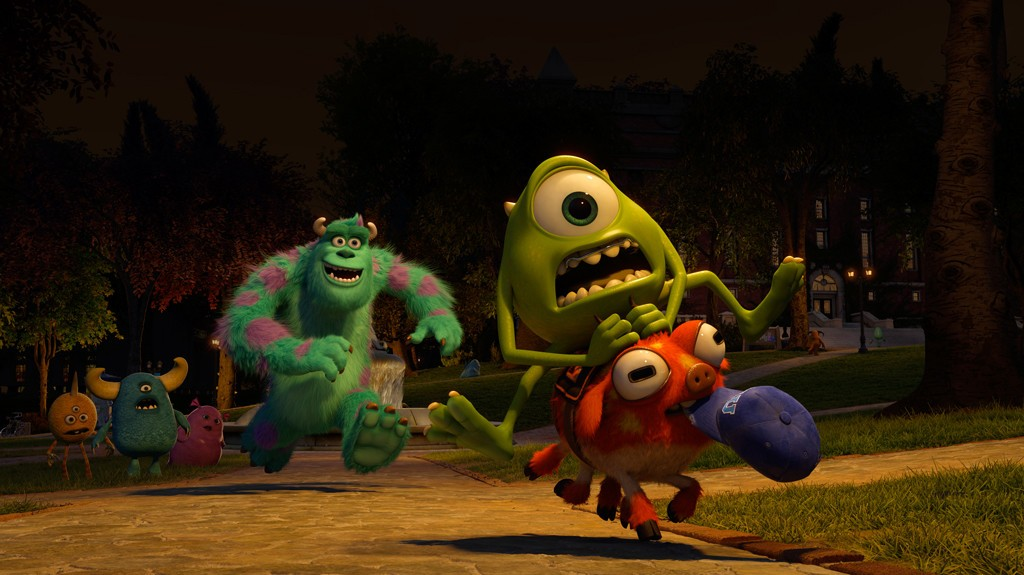 Sulley, Archie the Scare Pig and Mike Wazowski from Walt Disney Pictures' Monsters University (2013)