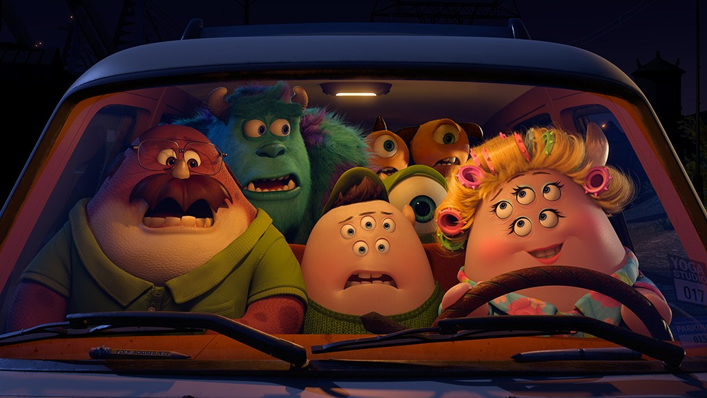 Don Carlton, Scott 'Squishy' Squibbles, Ms. Squibbles, Sulley, Mike Wazowski, Terri & Terry Perry from Walt Disney Pictures' Monsters University (2013)