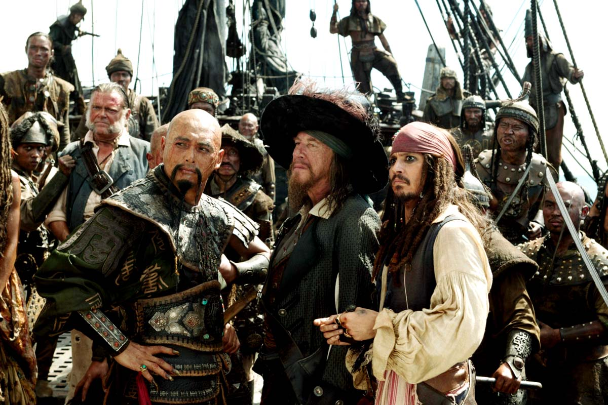 Chow Yun-Fat as Capt.Sao Feng, Geoffrey Rush as Barbossa and Johnny Depp as Jack Sparrow in Walt Disney Pic's POTC: At Worlds End (2007)