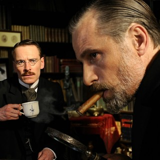 Michael Fassbender stars as Carl Jung and Viggo Mortensen stars as Sigmund Freud in Sony Pictures Classics' A Dangerous Method (2011)