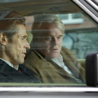 Willem Dafoe stars as Tommy Brue and Philip Seymour Hoffman stars as Gunther Bachmann in Roadside Attractions' A Most Wanted Man (2014)
