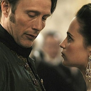 Mads Mikkelsen stars as Johann Friedrich Struensee and Alicia Vikander stars as Caroline Mathilde in Magnolia Pictures' A Royal Affair (2012)