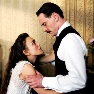 Keira Knightley stars as Sabina Spielrein and Michael Fassbender stars as Carl Jung in Sony Pictures Classics' A Dangerous Method (2011)