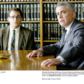 Michael Stuhlbarg stars as Larry Gopnik and Adam Arkin stars as Don Milgram in Focus Features' A Serious Man (2009). Photo credit by Wilson Webb.