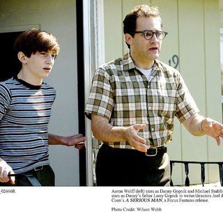 Aaron Wolff stars as Danny Gopnik and Michael Stuhlbarg stars as Larry Gopnik in Focus Features' A Serious Man (2009). Photo credit by Wilson Webb.
